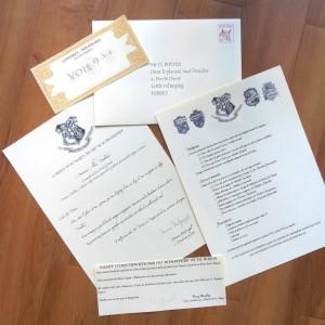 Courrier d'admission à Poudlard : lettre, billet Poudlard Express, liste, etc.