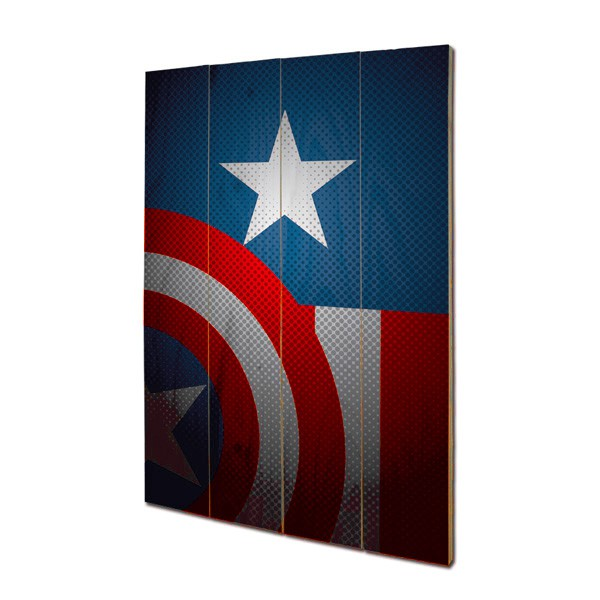 panneau mural en bois captain america marvel. Black Bedroom Furniture Sets. Home Design Ideas