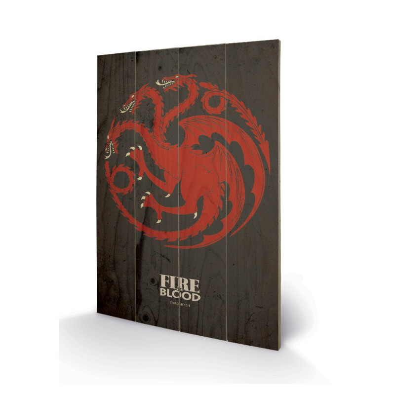 Panneau en bois targaryen game of thrones for Decoration murale game of thrones