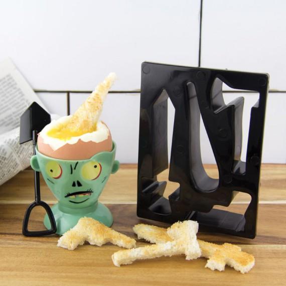Kit Coquetier et tampon zombie Eggpocalypse