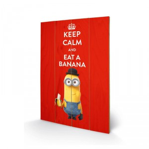 Panneau de bois minion Keep calm and eat banana