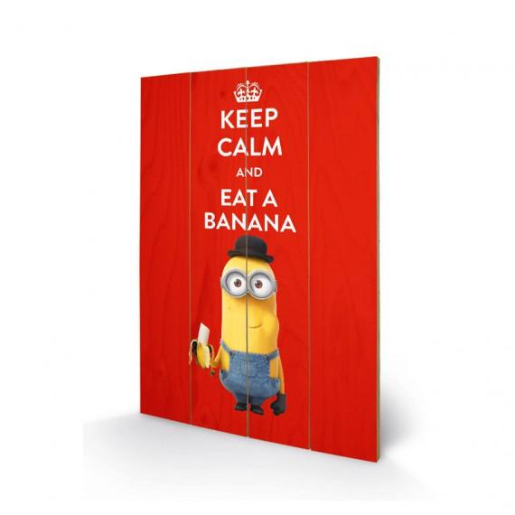 Panneau de bois minion Keep calm and eat banana