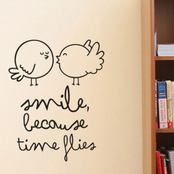 Sticker mural - Smile because times flies