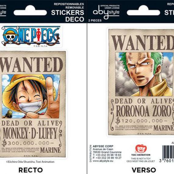 Planche Stickers One Piece Wanted Luffy & Zoro