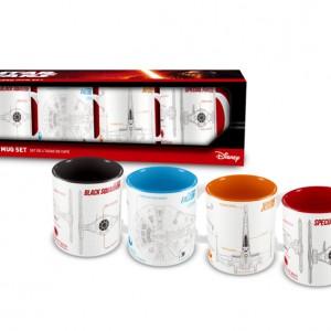 Lot de 4 Mini Mug Star Wars Vaisseaux Blueprint