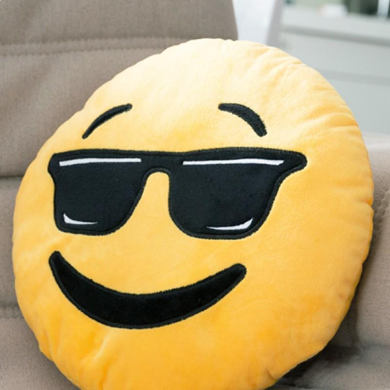 coussin emoji smiley cool lunettes noires. Black Bedroom Furniture Sets. Home Design Ideas