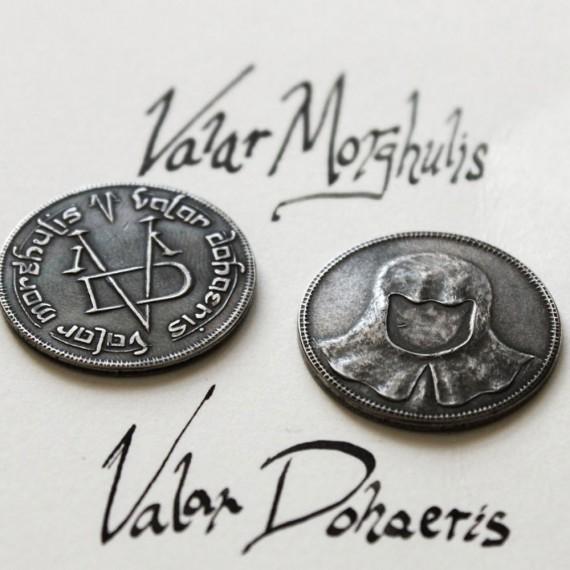 Pièce/pendentif d'acier des sans visages Valar Morghulis