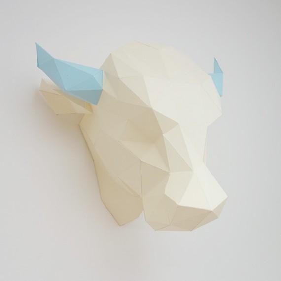 Sculpture en papier DIY - Pat' le Taureau