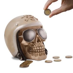 Tirelire tête de mort à casque de moto et lunettes noires