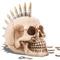 Tirelire tête de mort à la chevelure punk en balles