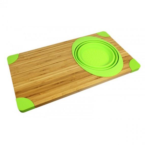 Planche à découper en bambou avec passoire silicone
