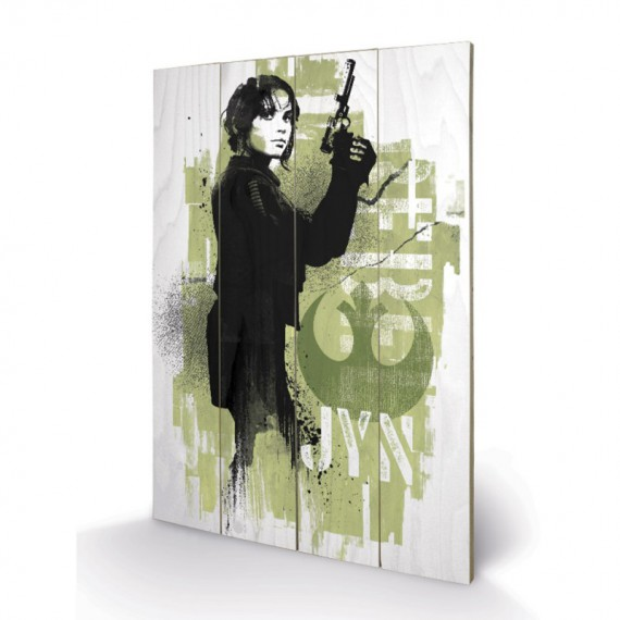 Panneau en Bois Star Wars Rogue One Jyn Grunge