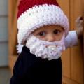 Bonnet de Père Noël avec barbe pour enfant