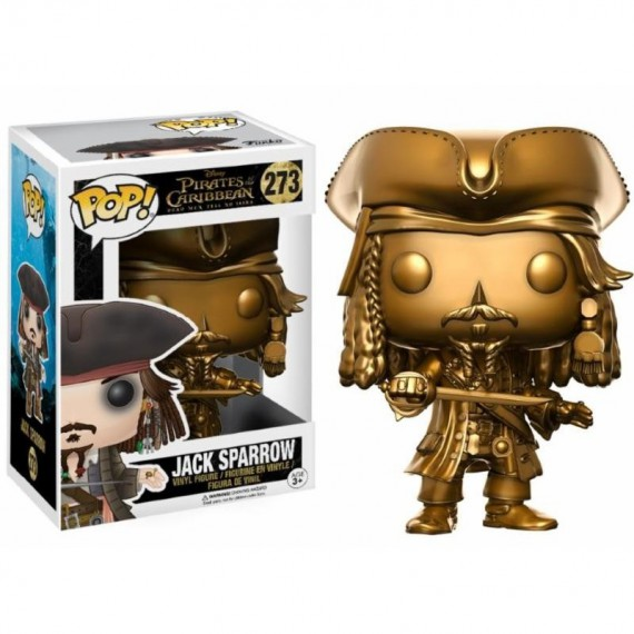 Figurine Disney -Pirates des Caraïbes 5 - Jack Sparrow Gold Exclu Pop 10cm