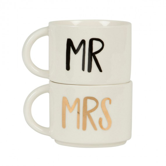 Set de 2 mugs emboîtables pour couples - Mr & Mrs