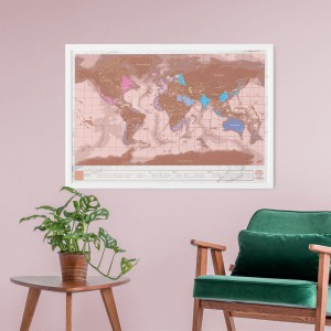 Carte du monde à gratter rose gold