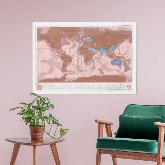 Carte du monde à gratter rose gold