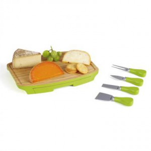 Plateau apéritif et à fromage en bambou avec tiroir - 4 accessoires