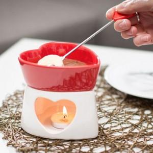 Fondue en chocolat en céramique cœur rouge
