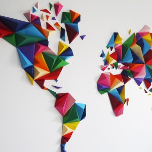 Mappemonde origami DIY - Made in France
