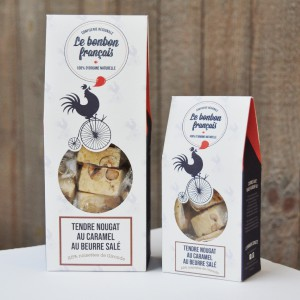 Tendre Nougat au caramel au beurre salé et 25% noisettes de Gironde