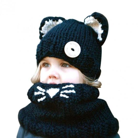 Bonnet et écharpe renard noir pour enfant