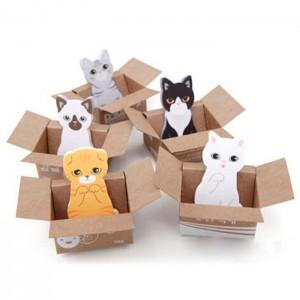 Post-it chat dans un carton